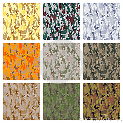 Set of seamless camouflage patterns