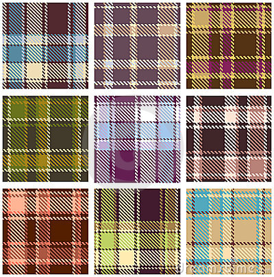 Set of seamless checkered pattern