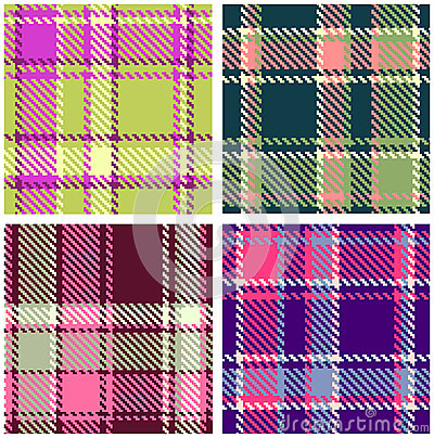 Set of seamless checkered plaid pattern