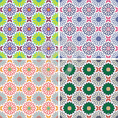 Set of seamless colorful floral pattern background