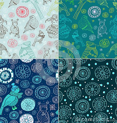Set of Seamless doodle background
