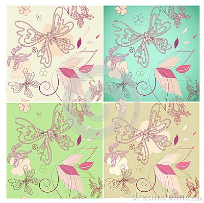 Set seamless floral background