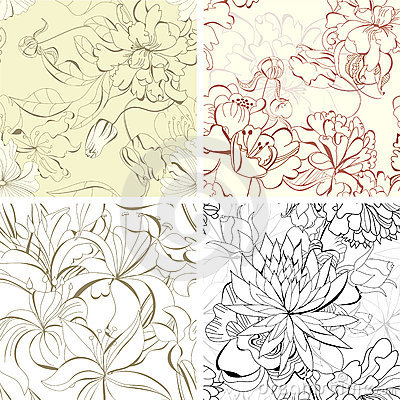 Set seamless floral wallpaper