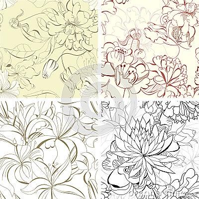 Set seamless floral wallpaper