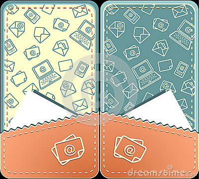 Set seamless pattern of email vertical layout