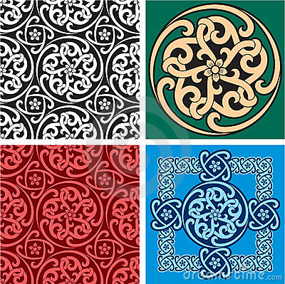 Set of Seamless Patterns and Design Element