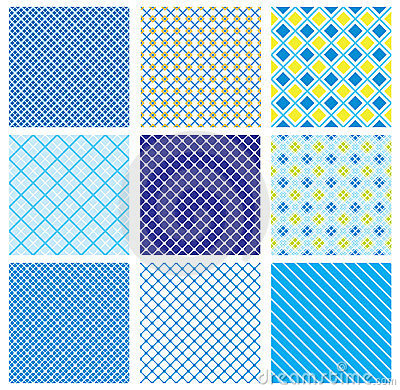 Set of seamless patterns with fabric checked textu