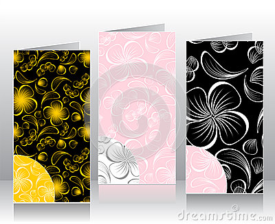 Set seamless patterns with flowers petals