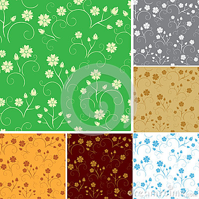 Set - seamless patterns with flowers - vector