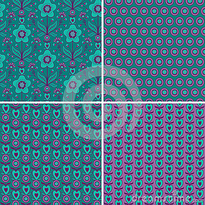 Set seamless patterns with hearts and flowers