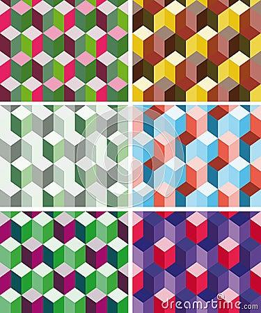 Set of seamless prismatic patterns