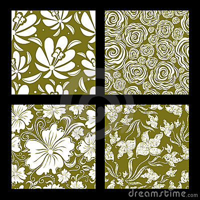 Set of seamless vintage floral pattern