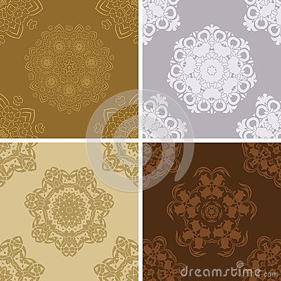 Set of seamless vintage pattern.