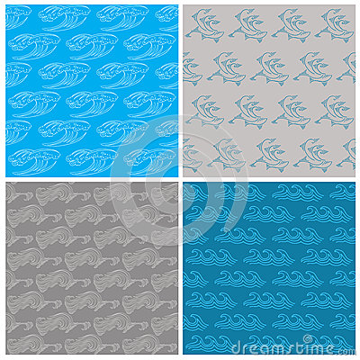 Set of Seamless Waves Background