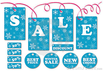 Set of season sale labels and symbols