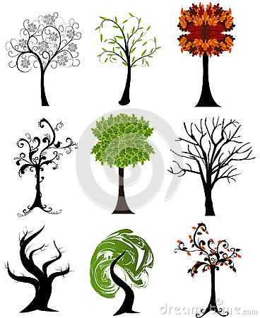 Set of  seasonal trees