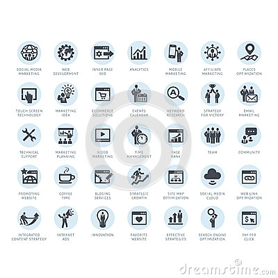 Set of SEO company service and Internet marketing