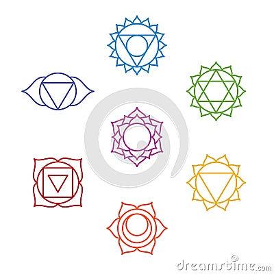 Set of seven chakra symbols. Yoga, meditation Vector Illustration