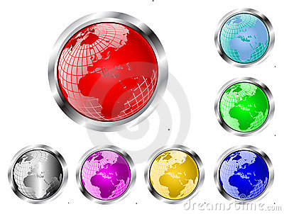 A set of seven vector earth globe web  buttons