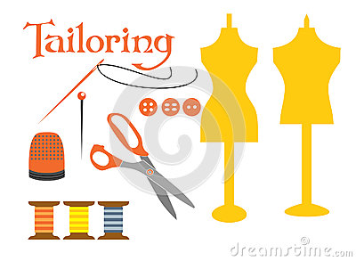 Set of sewing tools icons