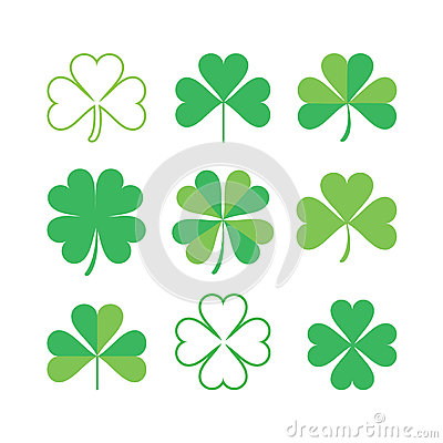 Set of shamrock Vector Illustration