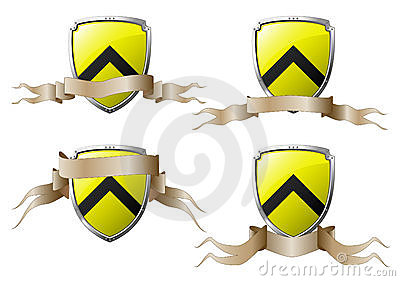 Set of shields with banners
