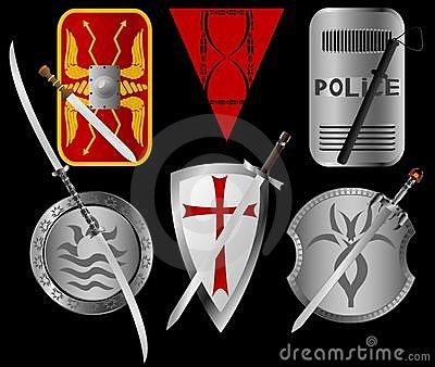 Set of shields and swords