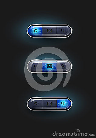 Set of shiny blue web buttons