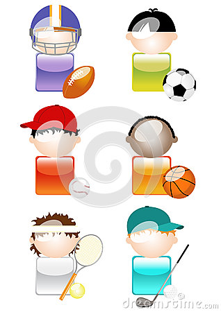 Glossy Sports Character Icons