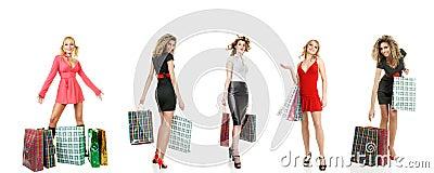 Set of shopping girls