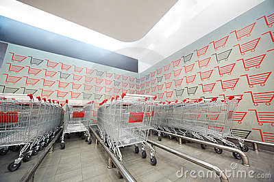 Set of shopping trolley in supermarket