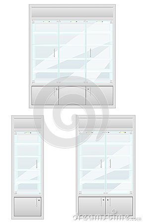 Set showcase of shop equipment vector illustration