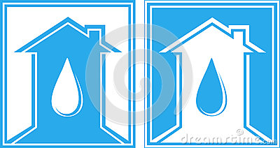 Set of sign with water drop and house
