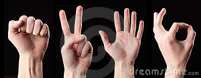 Set of signs hands. Isolated