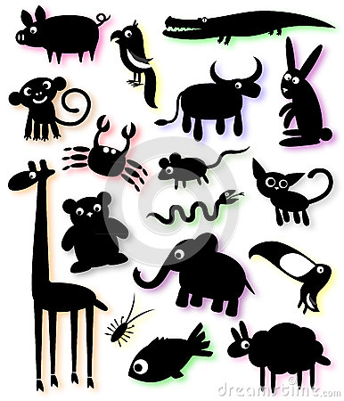 Set of silhouettes of animals