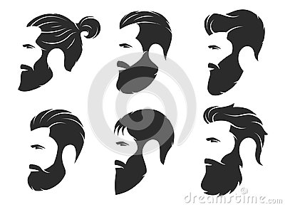 Set of silhouettes of a bearded men, hipster style. Barber shop Vector Illustration