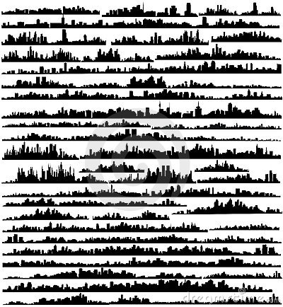 Set of silhouettes of cities a vector