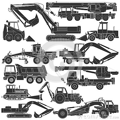 Set of silhouettes of construction machinery