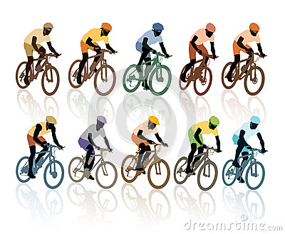 Set of cyclists