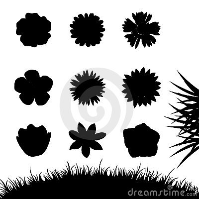 Set of silhouettes flowers isolated on white.
