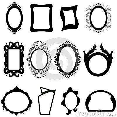 Set silhouettes för spegel