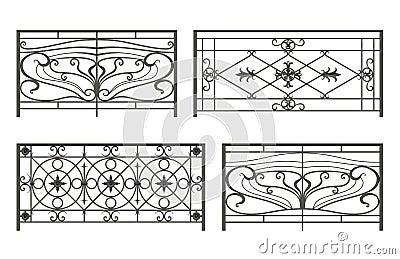 Set of silhouettes of iron fences royalty free stock - Cercas de hierro ...