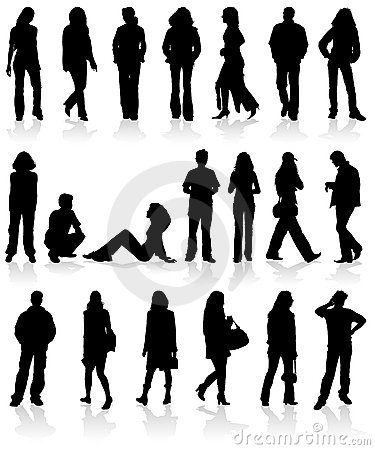 Set silhouettes man and women