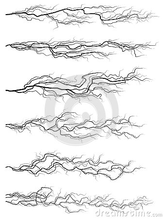 Set of silhouettes of thunderstorm lightning.