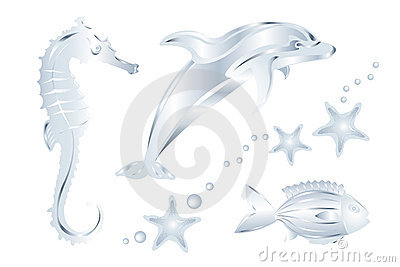 Set Of Silver Sea Animals, Isolated. Vector