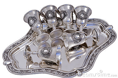 Set of silver wine-glasses.