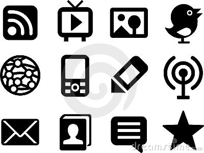Set of simple media icons.