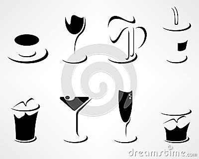 Set of simple minimal drink icons