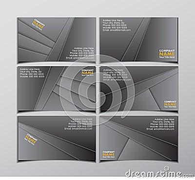 Set of six black visit cards
