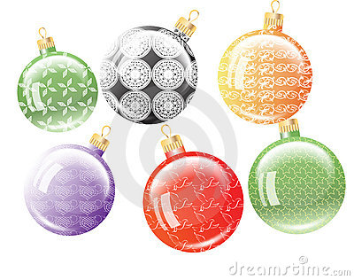 Set of six Christmas balls.
